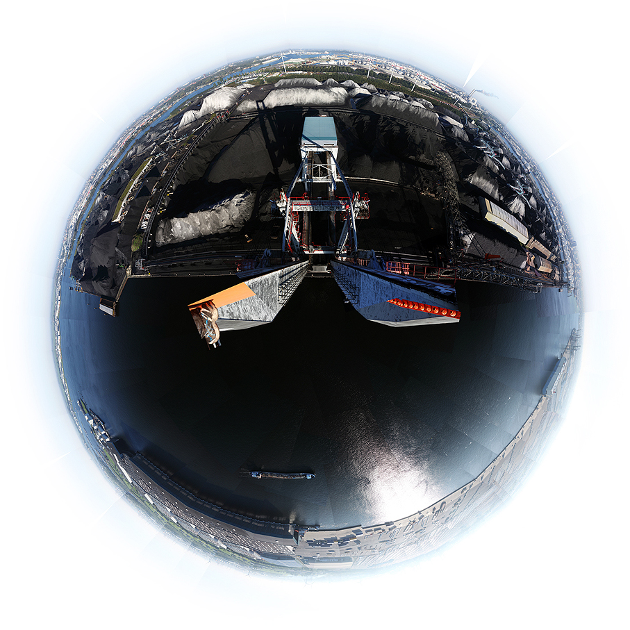 360 degree panorama from harbour crane in the port of Amsterdam, at OBA
