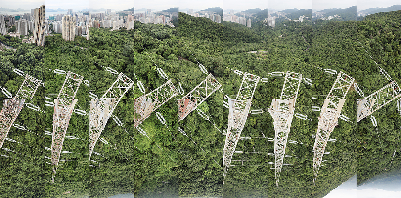 Connecting 9 electricity towers - from Chai Wan into the Tai Tam Gap – Hong Kong, the image is a topological space of perception of the landscape during a day of climbing 9 transmission towers