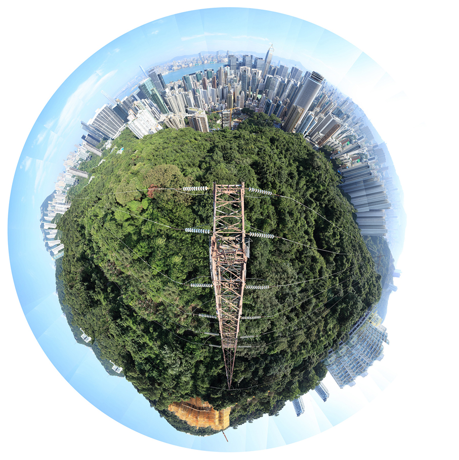 Electricity Tower - Wan Chai I – Hong Kong – 6-10-2016 - 360 degree landscape photographed from the summit of a transmission tower. Turning urban exploring and adventure into conceptual art